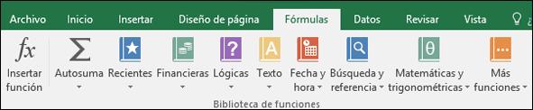 La pestaña Fórmulas de Excel en la cinta