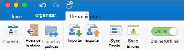 Captura de pantalla de la ficha Herramientas de la cinta de opciones.