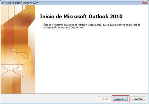 Inicio de Microsoft Outlook 2010