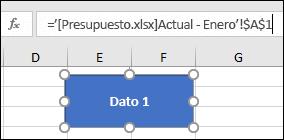 Forma seleccionada para mostrar el nombre del vínculo en la barra de fórmulas