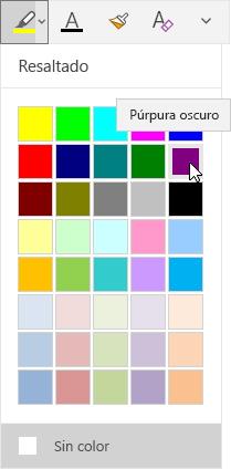 Botón Resaltado con la lista desplegable en la que se muestra el color púrpura oscuro seleccionado