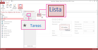 Tabla Tasks y vista List en diseño de aplicación