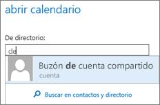 Cuadro de diálogo Abrir calendario de Outlook Online
