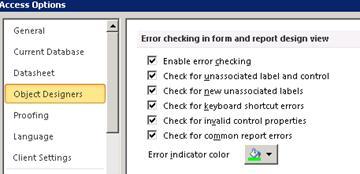 Opciones de comprobación de errores disponibles en la categoría de diseñadores de objetos