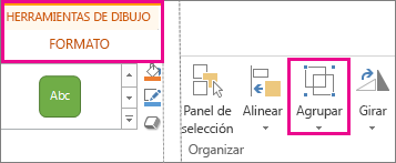 Botón Agrupar en la ficha Formato en Herramientas de dibujo