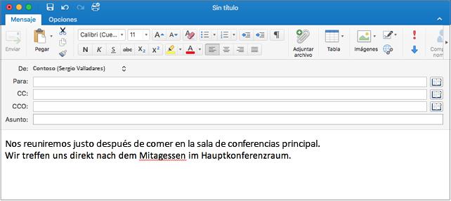 Frase en inglés y alemán con una palabra mal escrita en alemán. La falta de ortografía tiene una línea roja debajo.