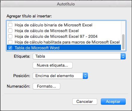 Agregue títulos a nuevas tablas y otros objetos que se inserten automáticamente