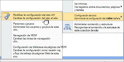 Modificar todas las opción de configuración del sitio en configuración del sitio