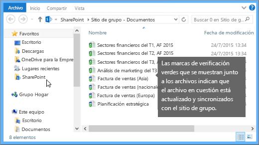 Use el Explorador de archivos para desplazarse al archivo sincronizado de su escritorio. Está en la carpeta de SharePoint.