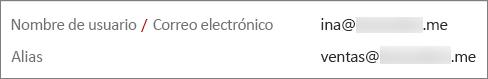 Este usuario tiene una dirección principal y un alias.