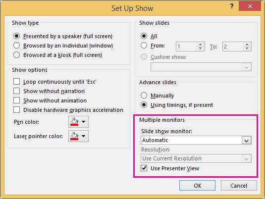 Opciones de monitor en el cuadro de diálogo Configurar presentación