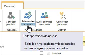 Haga clic en Editar permisos para cambiar el nivel de permisos
