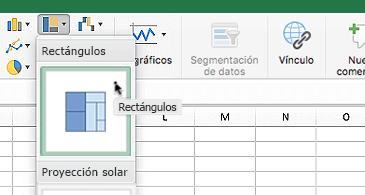 Hoja de cálculo con el menú desplegable de gráficos de jerarquía en el que se muestran dos opciones: Rectángulos y proyección solar