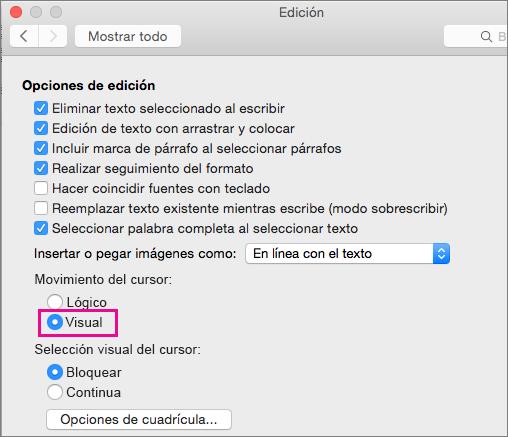 Opciones de movimiento del cursor en el cuadro de diálogo Editar