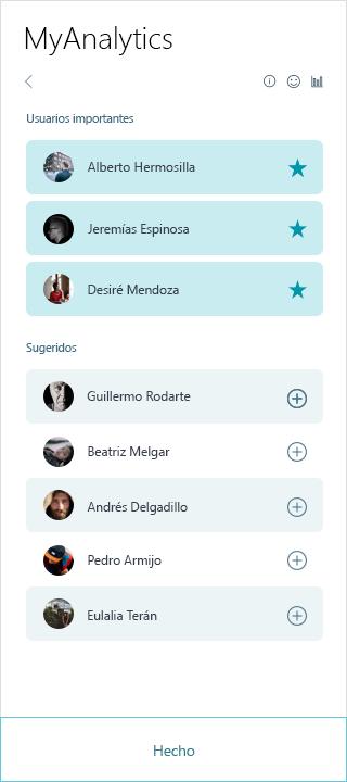 Captura de pantalla de la lista de personas MyAnalytics importantes