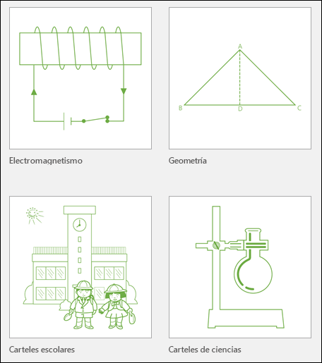 Cuatro miniaturas de plantilla de educación de Visio de Microsoft