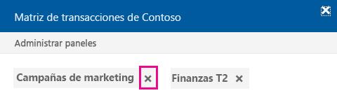 Haga clic en la x para eliminar el documento de un panel