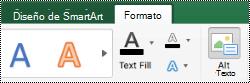 Botón Texto alternativo para gráficos SmartArt en Excel para Mac