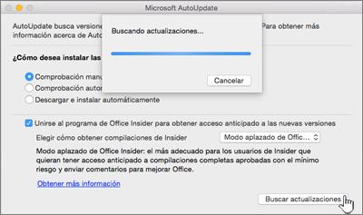Buscar actualizaciones del Modo aplazado de Insider en Mac