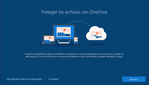 Captura de pantalla de Proteger sus archivos con OneDrive en la configuración de Windows 10