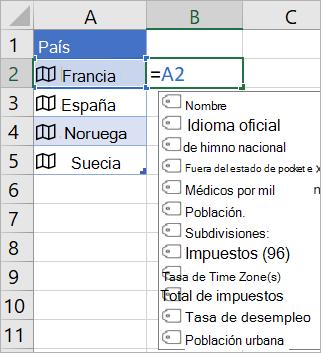 """La celda A2 contiene """"Francia"""", la celda B2 contiene """"=A2."""" y el menú Autocompletar fórmula aparece con los campos del registro vinculado"""
