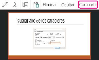 Comando Compartir en PowerPoint para Android