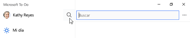 Captura de pantalla que muestra el icono de búsqueda seleccionado y el campo de búsqueda abierto