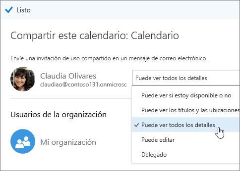 Captura de pantalla del panel Compartir calendario que muestra las opciones de acceso