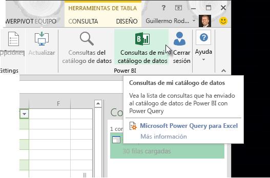 Mostrar las consultas del catálogo de datos