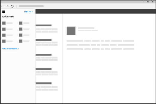 Una ventana del explorador con el iniciador de aplicaciones de Office 365 abierto