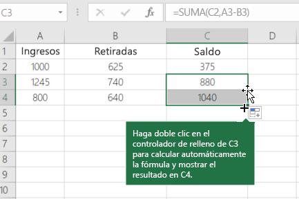 Ejemplo de un balance de ejecución de cálculo