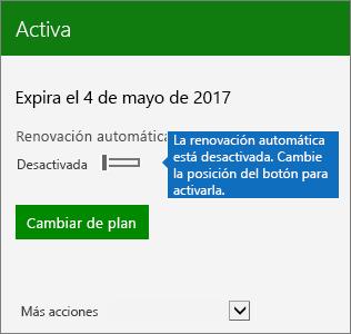 Captura de pantalla de una parte de una tarjeta de suscripción en el centro de administración de Office 365 que muestra la el botón de alternancia de renovación automática en posición desactivada.
