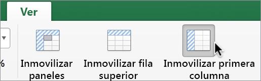 Pestaña Visualización, botón Inmovilizar primera columna
