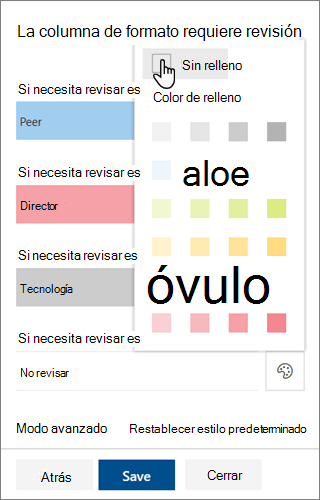 Opciones de la plantilla de edición para el color de relleno de fondo para el formato de columnas de SharePoint