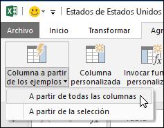 Power Query combinar columnas con la opción de ejemplo en la ficha Agregar columna