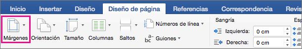 La opción Márgenes está resaltada en la pestaña Diseño.