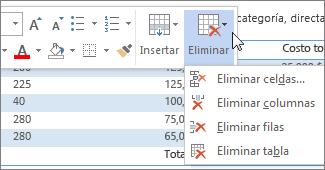 Eliminar una fila una columna o una celda de una tabla soporte de minibarra de herramientas con el men eliminar urtaz Choice Image