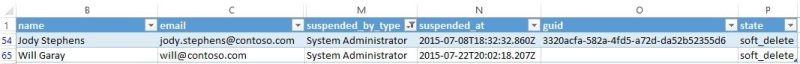 Captura de pantalla del informe de exportación de usuarios en Yammer