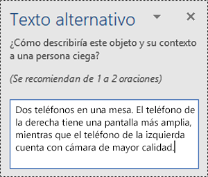 Panel de texto alternativo con un ejemplo de texto alternativo en Word para Windows.
