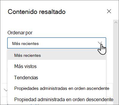 Las opciones de ordenación para el elemento Web contenido resaltado en la experiencia de SharePoint moderna