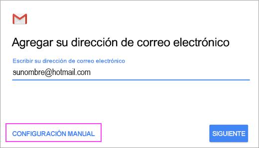 Elija Configuración manual