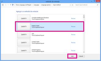 Agregar método de entrada en Windows 8