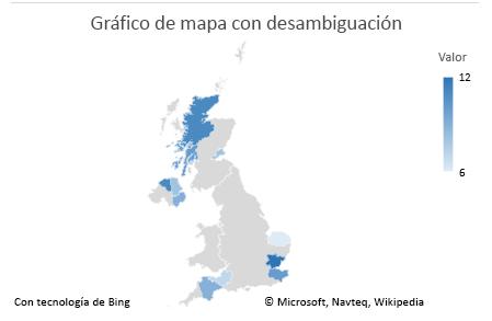 Gráfico de datos que no son ambiguos del gráfico de mapa de Excel