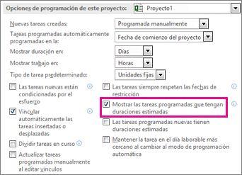 Opciones de programación de la pestaña Programación del cuadro de diálogo Opciones para esta área de proyecto