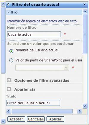Panel de herramientas del elemento web Filtro del usuario actual.