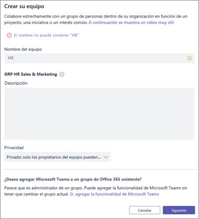Captura de pantalla: Directiva de nomenclatura de grupo en Microsoft Teams bloqueados ejemplo