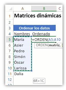 captura de pantalla de una hoja de cálculo de Excel en la que se muestra una lista de datos y una fórmula con la función ORDENAR para ordenar la lista.