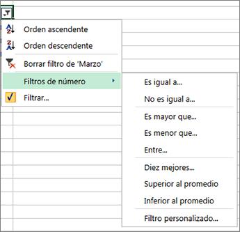 opciones de filtrado personalizadas disponibles para los valores numéricos.