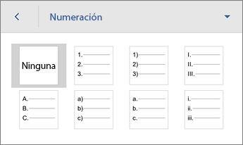 Comando Numeración, que muestra las opciones de formato