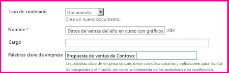 Los usuarios pueden agregar palabras clave en el diálogo de propiedades del documento